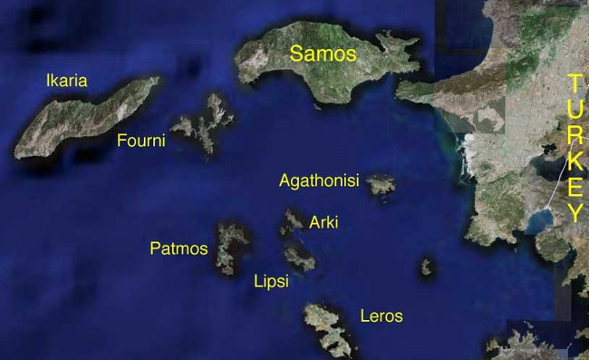 Map of area: IKARIA-SAMOS-FOURNOI-PATMOS-ARKI-LIPSI several lesser known but beautiful and historical islands. Pythagoras was from Samos, Icarius left from Ikaria for his ill-fated flight, Patmos is where early chapters of the New Testament were  written, Leros boast a spot where you can see the sea on both sides.