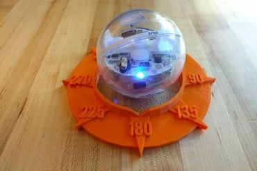 I designed this disk to help my students better grasp how Sphero gets oriented to the world. Match the blue orientation light up with the notch at 180 degrees, then get programming!