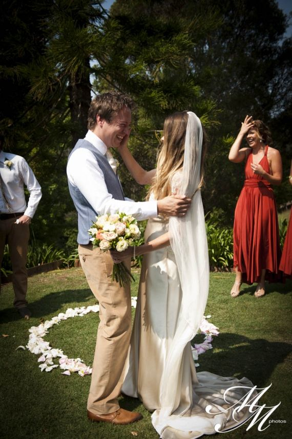 Beautiful moment!   Jen and Freddie, Byron Bay Australia, Wedding Ceremony and Reception Venue - Gurragawee.  Destination weddings with an arty, bohemian vibe set in the Byron Bay hinterland. Copyright: MM Photos