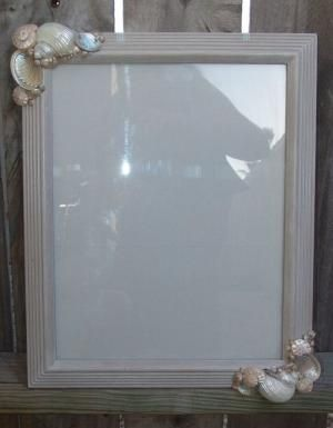 Sea Shells Home Decor- Pebble Painted Frame with Silver, MOP Polished Shells- Elegant Beach Style by nettie