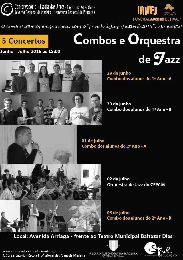 É já a 2, 3 e 4 de julho que o jazz regressa ao Parque de Santa Catarina, em mais uma edição do Funchal Jazz. Paralelamente, de 29 de junho a 3 de julho, os alunos dos Combos e da Orquestra de Jazz do Conservatório irão atuar às 18h00, na Avenida Arriaga, frente ao Teatro Municipal Baltazar Dias. Não percas!