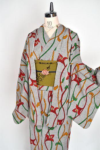 パウダーグレーにカラフルアラベスクよろけ縞ロマンチックなウール単着物 - アンティーク着物・リサイクル着物のオンラインショップ 姉妹屋