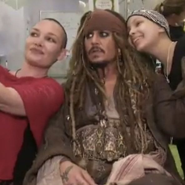 Watch Johnny Depp Bring Joy to Sick Kids as Captain Jack Sparrow  Aprox 7-8-15