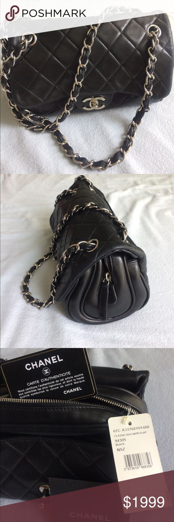 "Authentic Chanel bag with tags Mint condition authentic Chanel. Has authentication card. Great condition. Has a bit of wear at the flap as pictured. 9"" wide. 7"" tall. 5"" at the sides at the widest point. 15"" from top of straps to bottom of bag. Straps are in excellent condition. 3 compartments inside PLUS zipper inside pocket. Also pocket slot in back of bag as photo. She's gorgeous. Not sure about dust bag. CHANEL Bags Shoulder Bags"