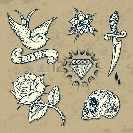 Ensemble d l ments anciens de tatouage de l cole avec des roses et diamants Banque d'images