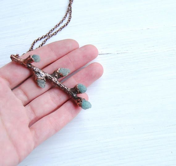 Real twig necklace tree branch necklace raw apatite
