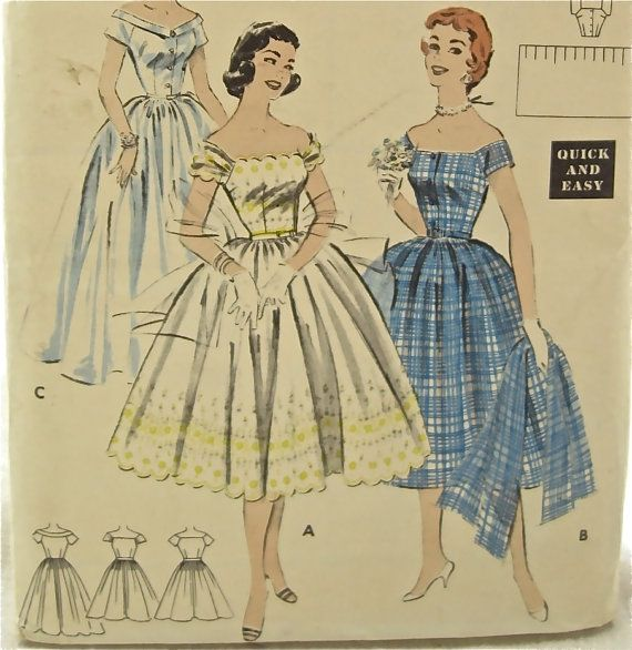 1950s Butterick 7181 Full Skirt Dress Vintage Sewing by EmSewCrazy, $35.00
