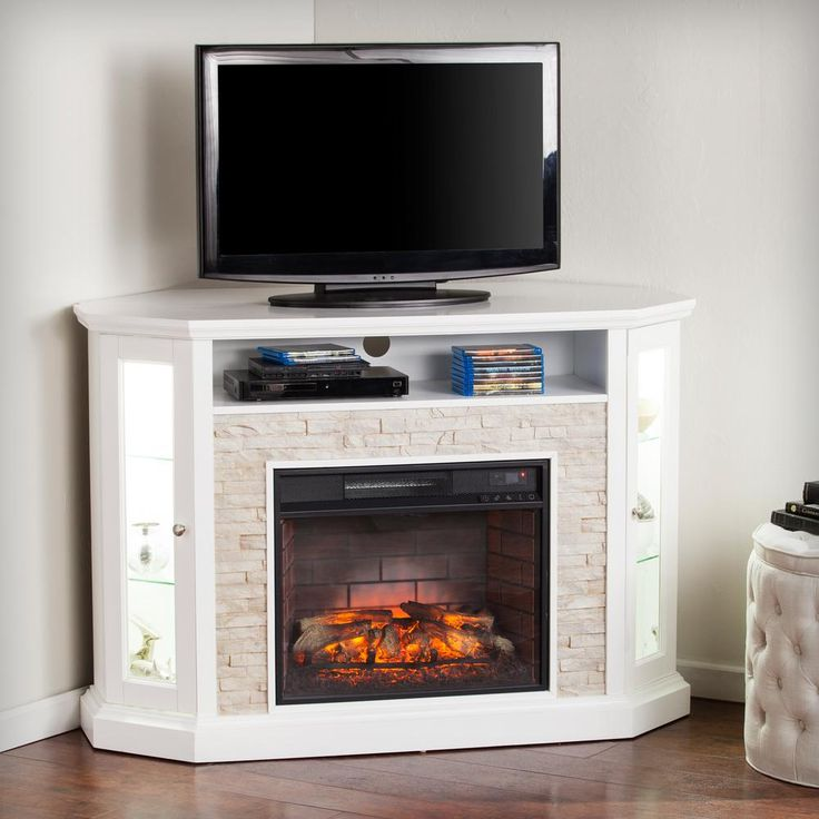 Bellingham 52.25 in. W Corner Convertible Infrared Electric Media Fireplace in White-HD91210 - The Home Depot