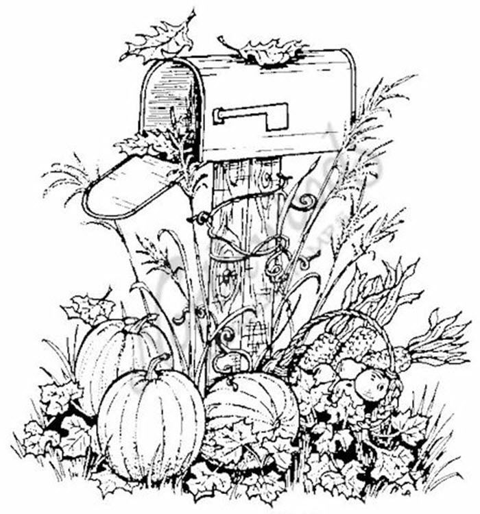 Northwoods Rubber Stamp Harvest Mailbox Pumpkins Fall