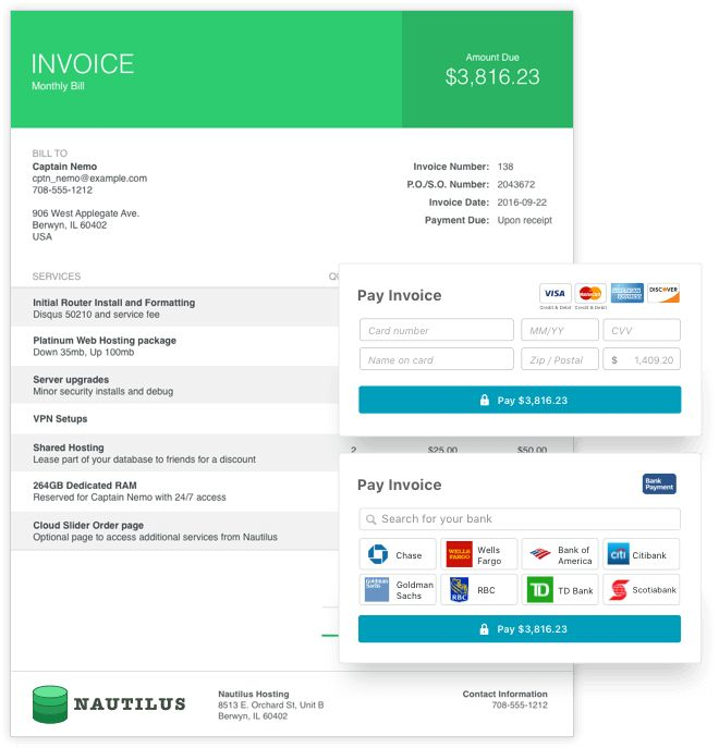 FREE accounting services - Wave invoices are designed to get paid fast