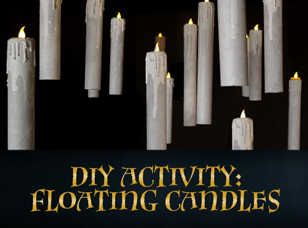 Floating candles like in Harry Potter.       Paper towel rolls     LED tea lights     Scissors     Pushpin     Glue     White paper     White/cream acrylic paint     Paint brush     Plastic container     Hot glue gun and glue sticks     Fishing line/illusion cord (.25mm thick)