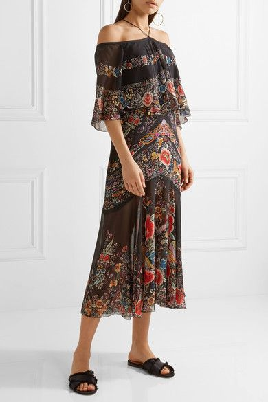 Roberto Cavalli - Off-the-shoulder Ruffled Printed Silk-georgette Midi Dress - Black