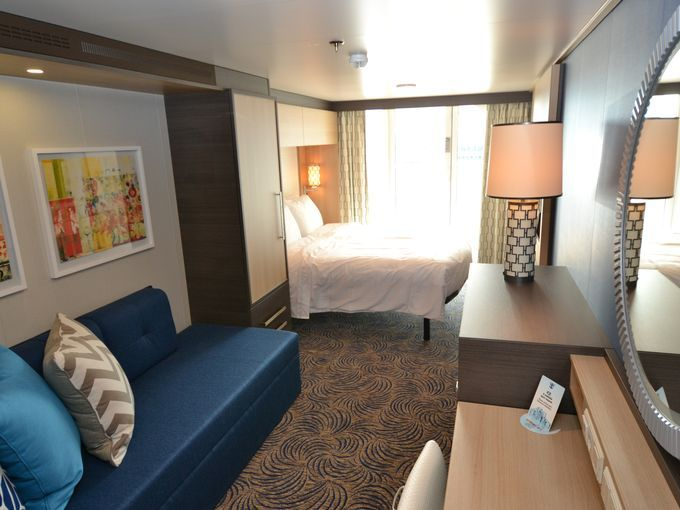 Among the most common types of cabins is the Superior Oceanview Stateroom with Large Balcony, which measures 198 square feet.