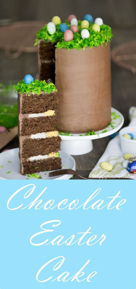 Chocolate layer cake with an Easter theme.