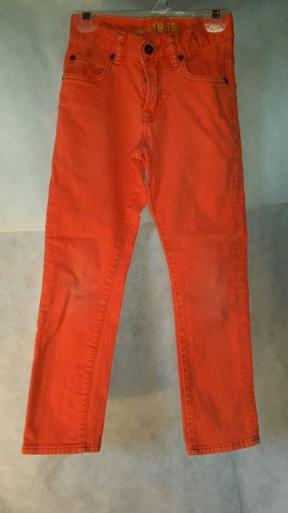Gap 1969 boys jeans STRAIGHT orange size 7 waist adjustable  #Gap