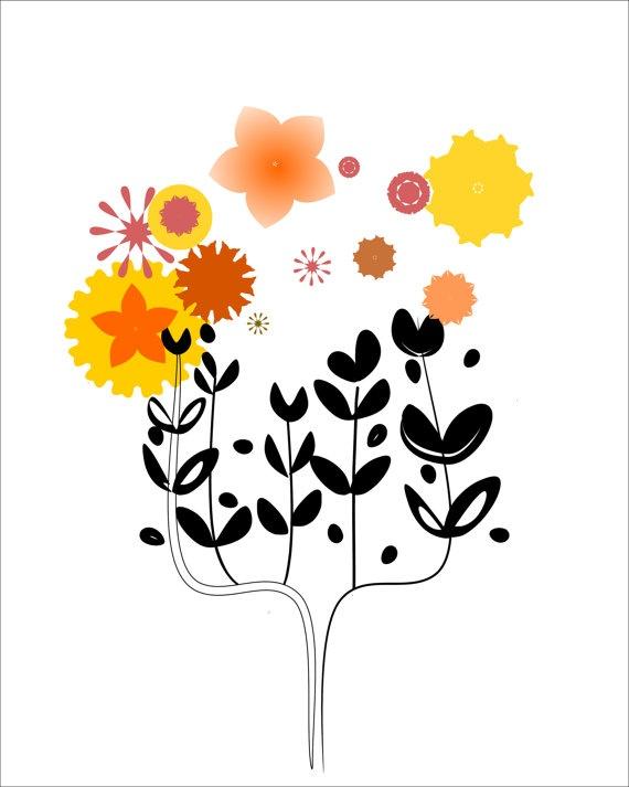 Digital art print 5x7 Black tree