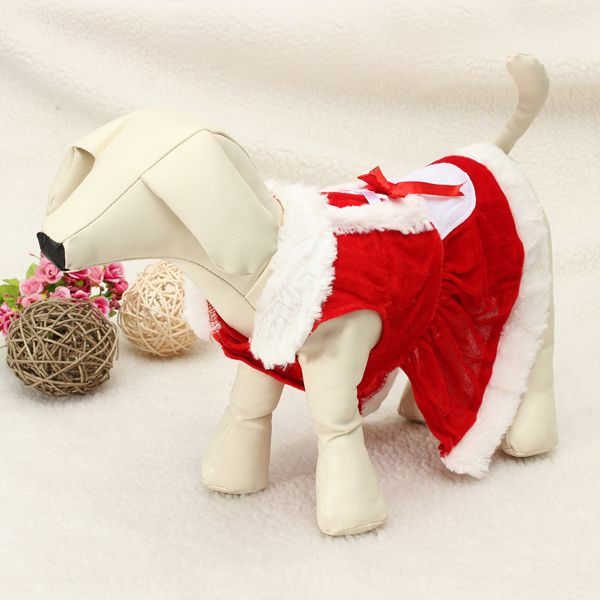 Pet Puppy Dog Christmas Costume Coat Clothes Skirt Dress