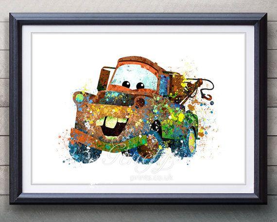 Disney Pixar Cars remolcan Mater acuarela Poster por GenefyPrints