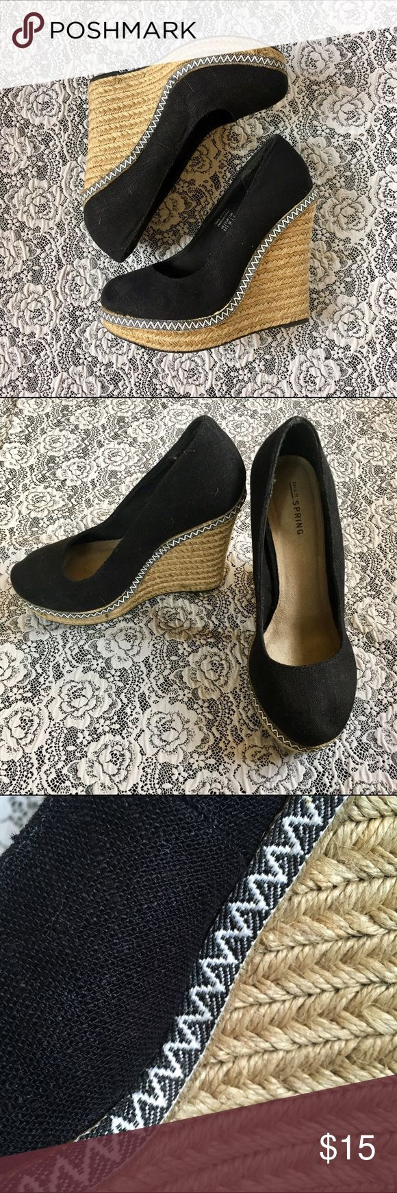 "Black Espadrilles Brand is Call it spring! Size 8.5 and they have a 5"" wedge heel with about 1"" platform. They have only been worn a handful of times and have held up great. Virtually no wear but did include pics of the soles to show. Thanks for shopping!❤️ Call It Spring Shoes Espadrilles"