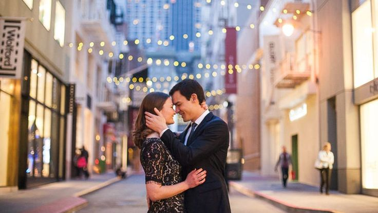 """""""Maiden Lane is the perfect choice for a mix of downtown San Francisco and a couple's personal style. Plus, you can never go wrong with string lights in the background of your photos."""" -Photographer Christine Chen"""