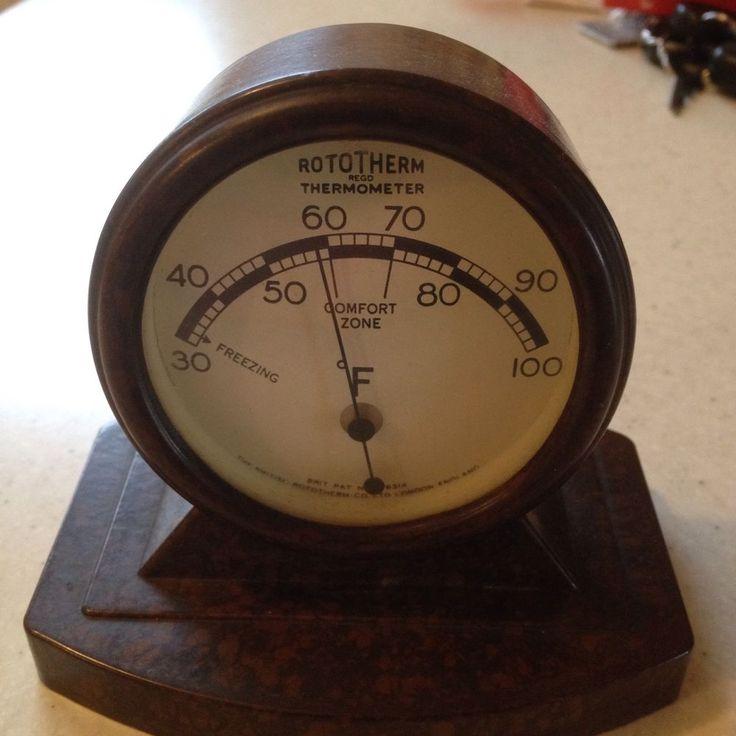 RARE art deco  bakelite desk top ROTOTHERM thermometer
