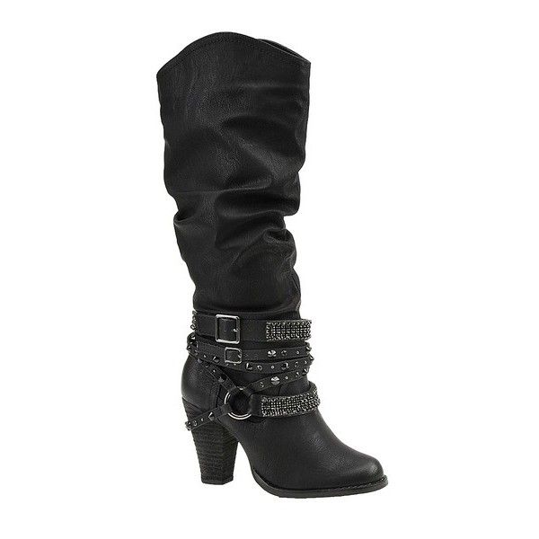 Not Rated Swag ($85) ❤ liked on Polyvore featuring shoes, boots, black, knee boots, knee high heel boots, black strap boots, faux boots and strap boots