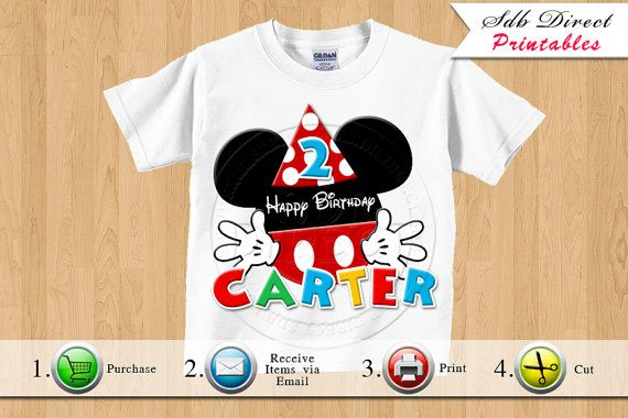 Mickey Mouse Inspired Iron On Printable, Mickey Mouse Party, Mickey Mouse Birthday Prinatbles - Any Age - Printable Digital File-YOU PRINT