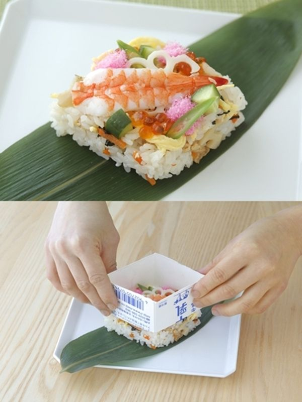牛乳パックで作るひし形寿司