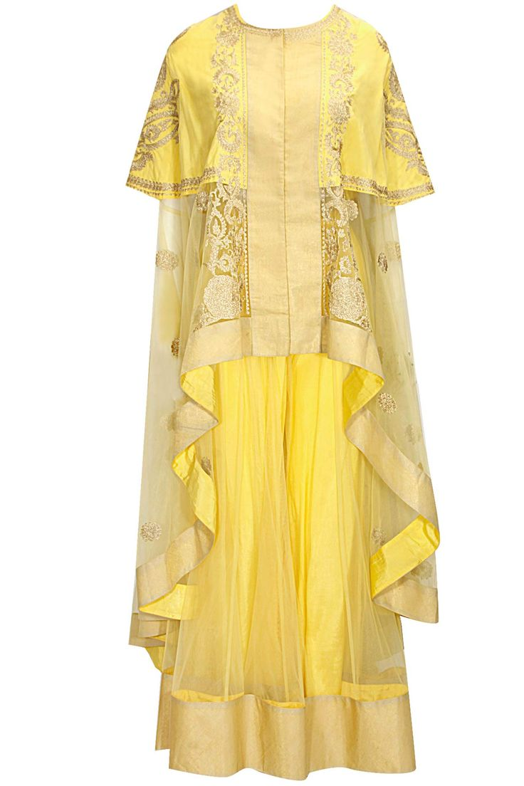 Yellow dabka embroidered cape with sharara by Sonali Gupta Shop now: http://www.perniaspopupshop.com/designers/sonali-gupta #shopnow #perniaspopupshop #sonaligupta