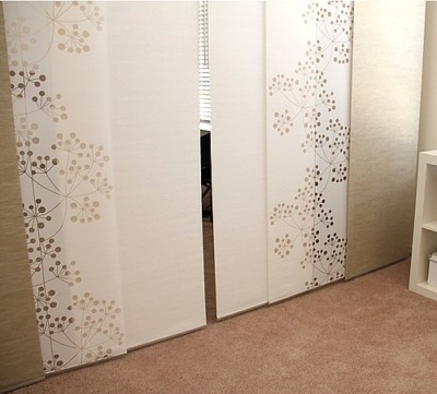 I think I'm going to do this instead of my awful mirror closet doors: IKEA Anno Sanela Beige Panel Curtain Kvartal Rail
