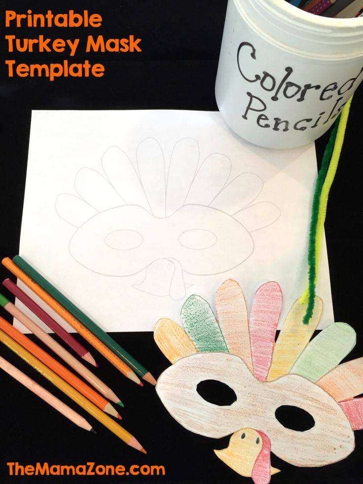 Free Printable Turkey Mask Template | Mask template, Kids