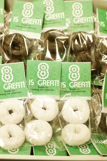 8 is great doughnuts!  Cute idea!   ***Would be even easier to stick the two doughnuts on a skewer and serve at the luncheon***