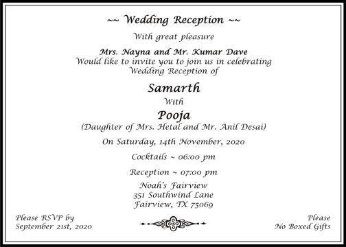 Hindu Wedding Cards Wordings | Hindu Wedding Invitations Wordings