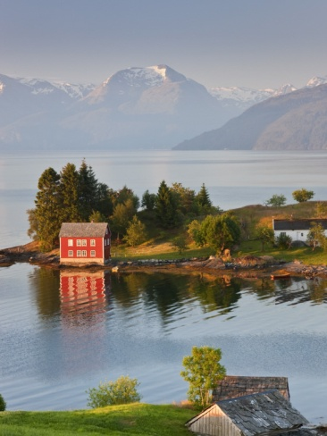Small Island in Hardangerfjorden Nr Bergen, Western Fjords, Norway