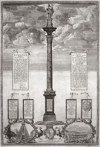 Wilhelm Hondius wg Agostino Locci:   Widok kolumny Zygmunta III Wazy w Warszawie