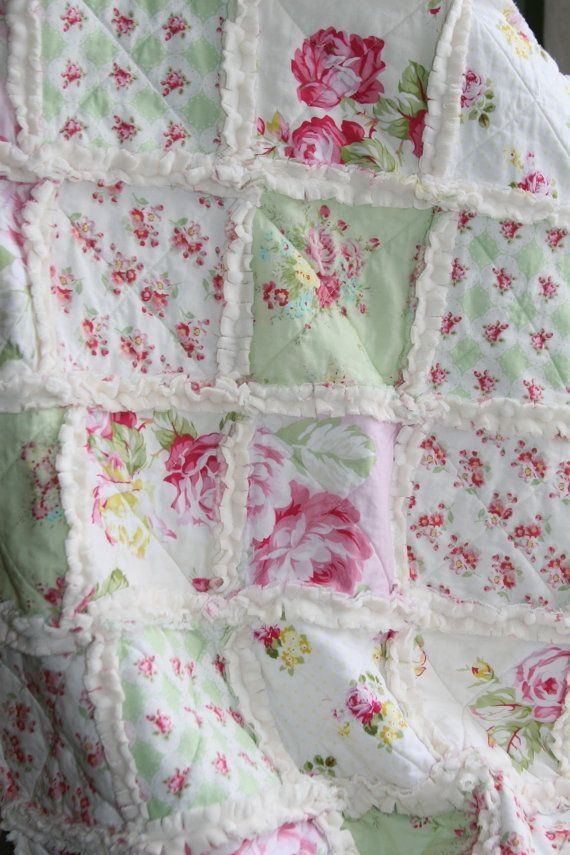 Shabby Chic Rag Quilt Baby Girl Minky Rag Quilt Pink Green Nursery by Gloria Garcia