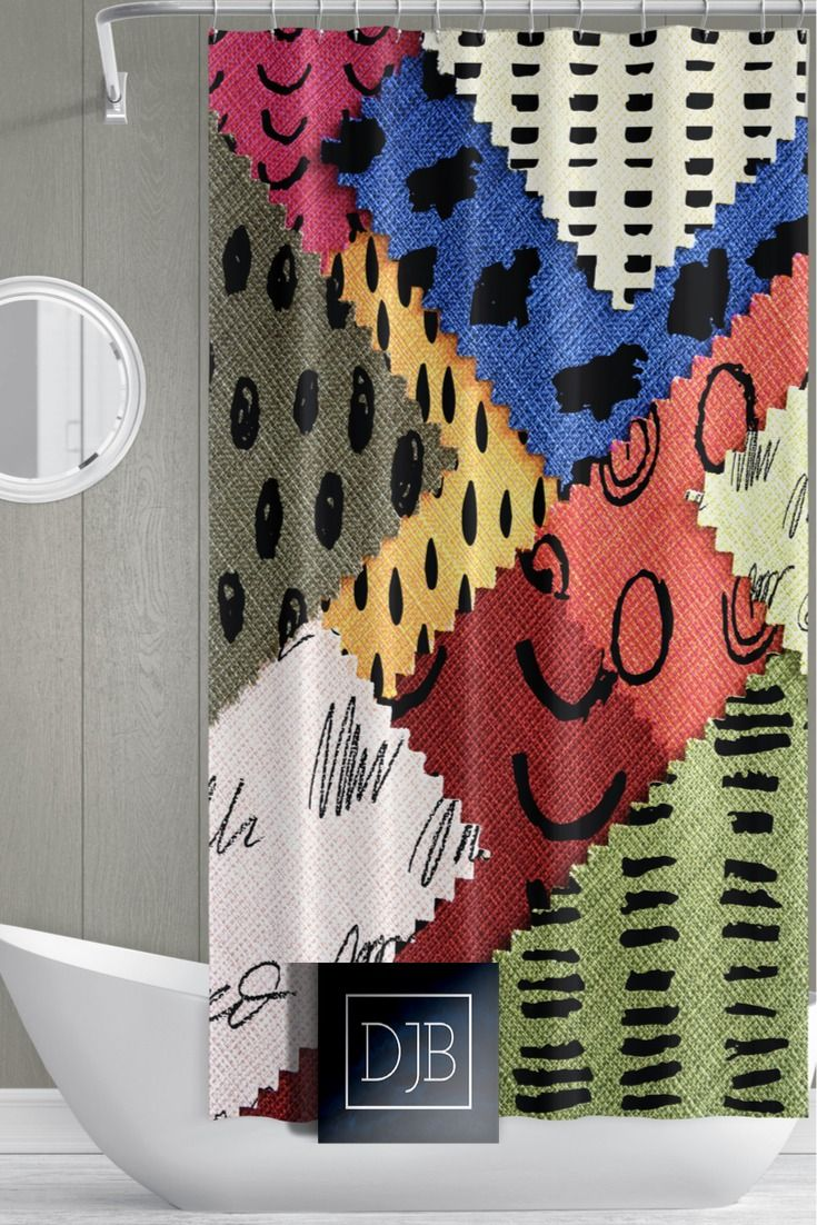 Abstract Patterns Shower Curtain Fabric Swatch Design Multi Color Shower Curtains Patterned Shower Curtain