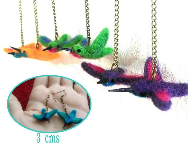 Aros colibries de fieltro  (3 cms)