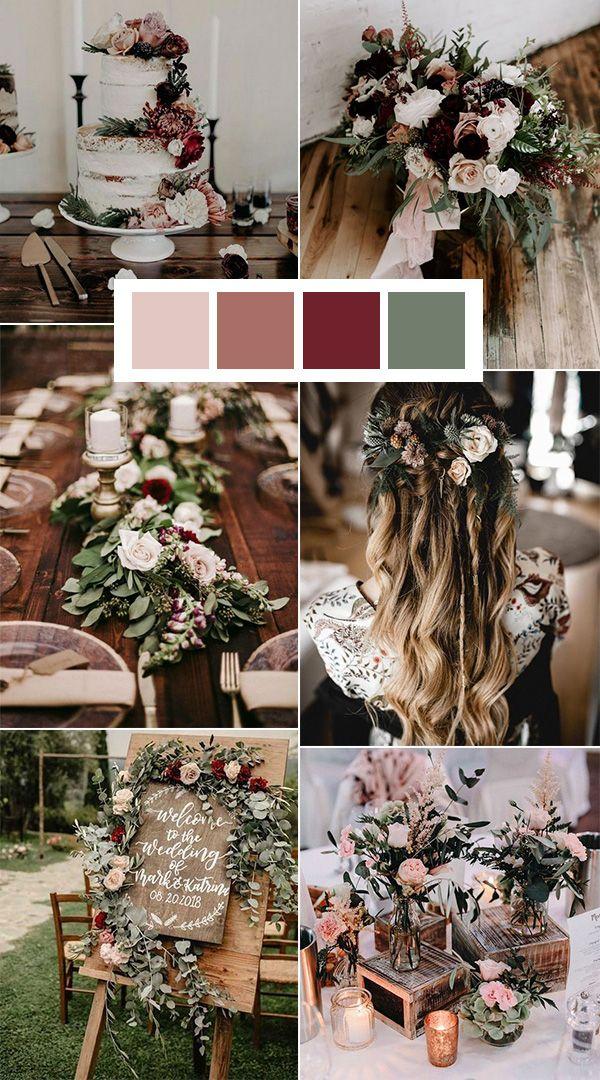 sage burgundy and blush wedding color ideas
