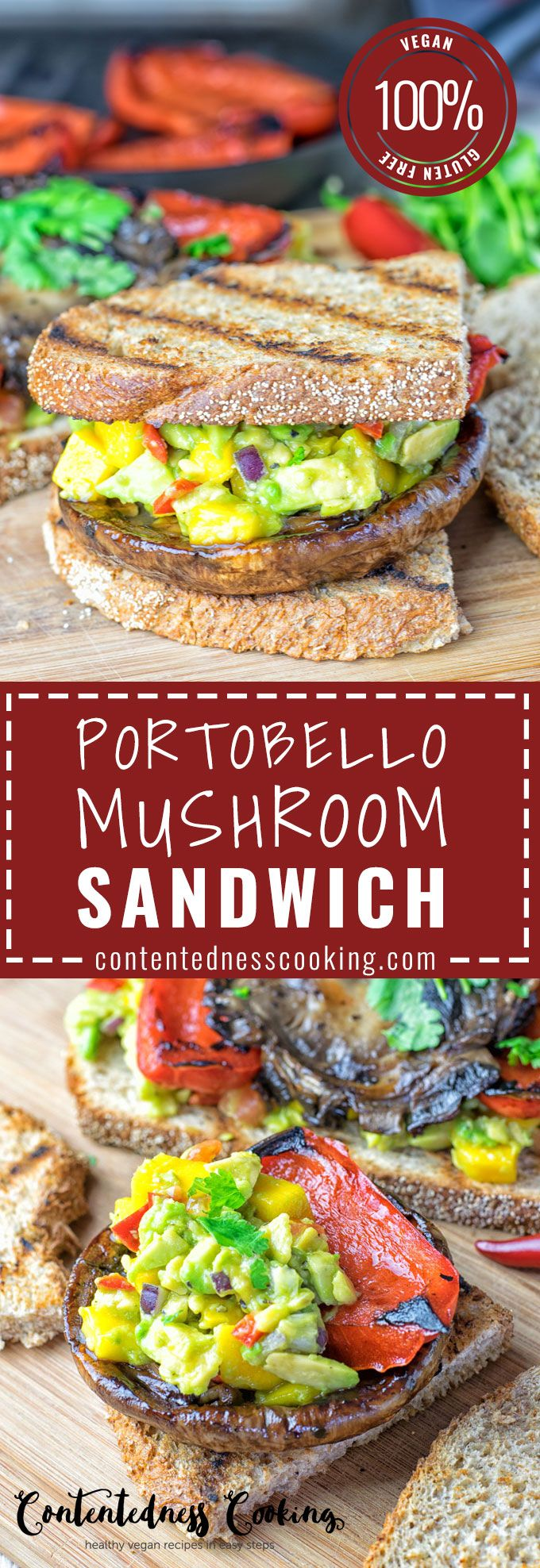 Portobello Mushroom Sandwich vegan, gluten free so delicious for dinner or lunch. So easy to make with roasted pepper and guacamole. Perfect to take along to work or any spring adventure that you plan.