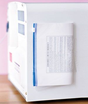 Put instructions in bags and tape them to the backs of the corresponding appliances.