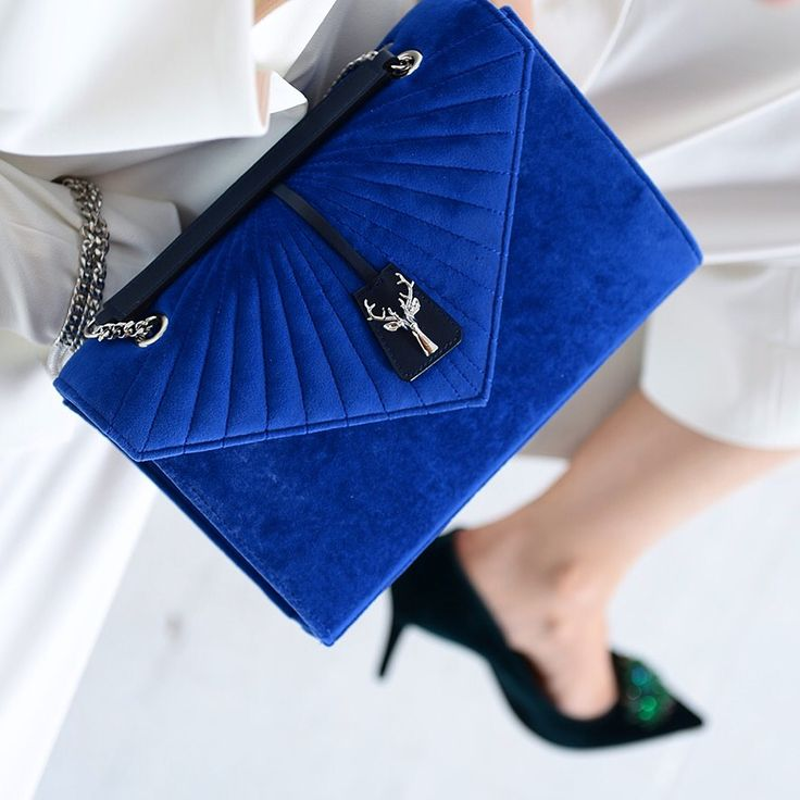 Savas Milano Royal Blue Stefanie quilted bag in softest velvet.
