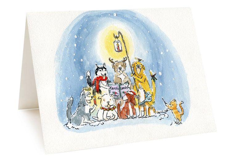 Cute Husky Pitbull Border Collie Cavalier Beagle Labordor Bull Dogs Cat Carols Music Singing Snowy Night Christmas Greeting Card Watercolor