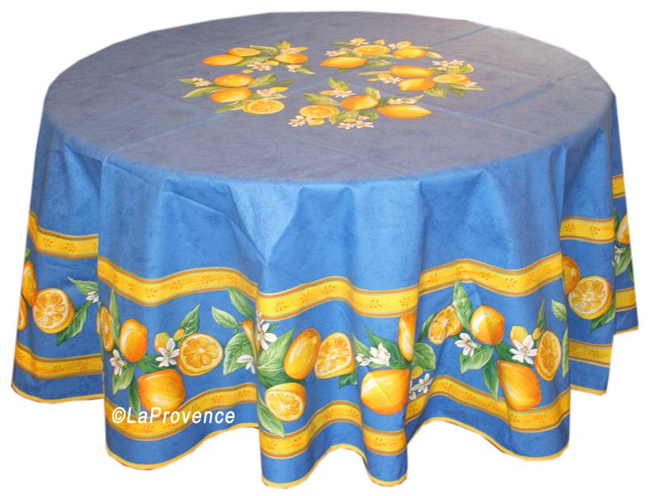 "70"" Round Provence Tablecloth:  Lemons Blue"