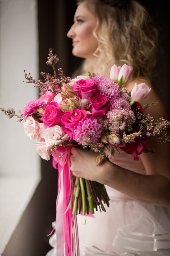 hot pink bridal bouquet #bouquet #hotpink #weddingchicks http://www.weddingchicks.com/2014/02/24/ruffles-and-roses-wedding-inspiration/
