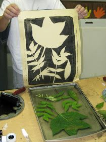Negative leaf printmaking with kids• art projects for kids