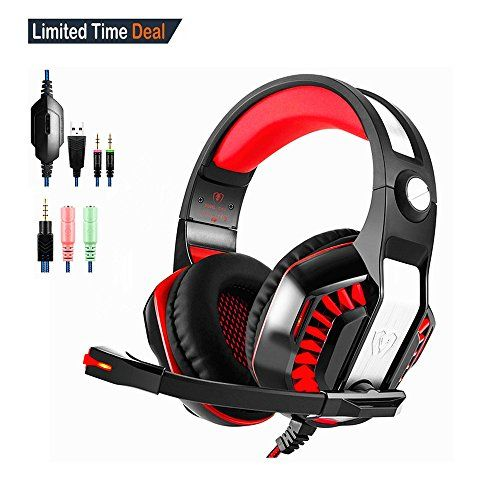 GM2 Gaming Headset Noise Cancelling Headphone with Microphone Volume Control Earphone and LED Light Xbox One Xbox 360 Headset for PS4 PSPPC Mac ComputerBlack red >>> Click on the image for additional details. Note: It's an affiliate link to Amazon