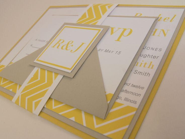 Chevron Wedding Invitation Suite - Yellow and Gray. $4.00, via Etsy.