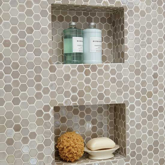 Daltile Hexagon Mosaics - Available in numerous shades to suit your decor! Add a shelf in your shower to hold your shampoo and soaps.