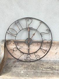 Industriele klok wandklok met cijfers bruin old look 60 cm landelijk | - Meubels & decoratie | 't Jagershuis